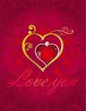 Cartão dos corações do amor no fundo decorativo vermelho Fotografia de Stock
