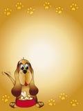 Cartão dos desenhos animados do cão Fotografia de Stock Royalty Free