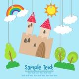 Cartão dos desenhos animados do castelo de Csstle com texto Fotografia de Stock Royalty Free