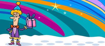 Cartão dos desenhos animados do duende do Natal ilustração royalty free