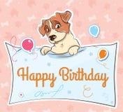 Cartão dos desenhos animados do llustration do terrier de Jack Russell ilustração do vetor
