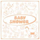 Cartão dos elementos da festa do bebê Imagem de Stock