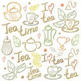 Cartão dos elementos do chá Imagem de Stock Royalty Free