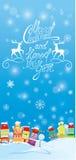 Cartão dos feriados de inverno com casas Fotos de Stock Royalty Free