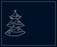 Cartão dos feriados de inverno com uma árvore de abeto estilizado e um lugar para o texto Foto de Stock Royalty Free