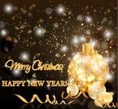 Cartão dos feriados do Feliz Natal e do ano novo, vetor ilustração royalty free