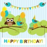 Cartão dos pássaros do partido Imagens de Stock
