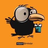 Cartão dos pássaros do sorriso do feliz aniversario Imagem de Stock