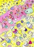 Cartão dos queques do aniversário Fotos de Stock Royalty Free