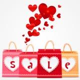 Cartão dos sacos de compras do vetor do dia de Valentim Imagem de Stock