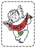 Cartão dos Valentim do St, anjo, amore, vetor ilustração stock