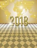 cartão 2018 dourado Ilustração do Vetor