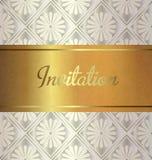 Cartão dourado do convite do casamento Fotografia de Stock Royalty Free