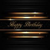 Cartão dourado do feliz aniversario Fotos de Stock
