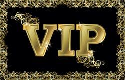 Cartão dourado do VIP, vetor Fotografia de Stock