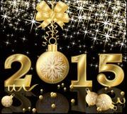 Cartão dourado novo de 2015 anos Fotos de Stock Royalty Free
