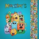 Cartão e beira engraçados dos monstro dos desenhos animados Fotografia de Stock Royalty Free