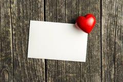 Cartão e coração vazios foto de stock royalty free