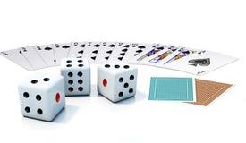 Cartão e dados de jogo Imagem de Stock Royalty Free