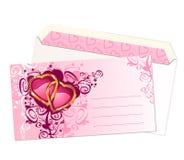 Cartão e envelope/vetor do Valentim Foto de Stock