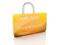 Cartão e fechamento de crédito conceito seguro da operação bancária no fundo branco Fotos de Stock