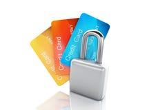 Cartão e fechamento de crédito conceito seguro da operação bancária no fundo branco Foto de Stock Royalty Free