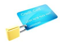 Cartão e fechamento de crédito conceito seguro da operação bancária no fundo branco Imagem de Stock Royalty Free