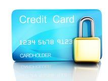 Cartão e fechamento de crédito conceito seguro da operação bancária no fundo branco Fotografia de Stock Royalty Free