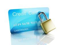 Cartão e fechamento de crédito conceito seguro da operação bancária no fundo branco Imagens de Stock