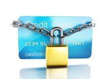Cartão e fechamento de crédito conceito seguro da operação bancária no fundo branco Fotos de Stock Royalty Free