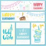 Cartão e feliz aniversario das bandeiras ilustração royalty free