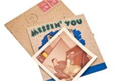 Cartão e foto/forças armadas velhos Imagens de Stock