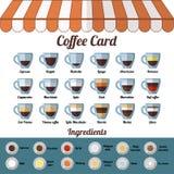 Cartão e ingredientes do café Objetos isolados do vetor no fundo branco Vetor liso ilustração stock