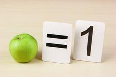 Cartão e maçã da escola com matemática Foto de Stock