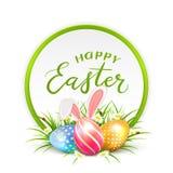 Cartão e ovos da páscoa com as orelhas de coelho na grama Foto de Stock Royalty Free
