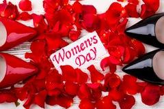 Cartão e pétalas do dia do ` s das mulheres Imagens de Stock