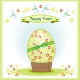 Cartão Easter feliz com ovo da páscoa grande Foto de Stock