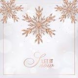 Cartão elegante do Feliz Natal com Rose Gold Glitter Snowflakes para o convite, os cumprimentos e o folheto 2019 do ano novo ilustração stock