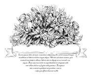 Cartão elegante do vintage com flores do verão Designs florais em um círculo Fotografia de Stock Royalty Free
