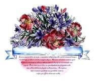 Cartão elegante do vintage com flores do verão Designs florais em um círculo Fotografia de Stock