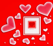 Cartão em branco com coração vermelho Imagens de Stock