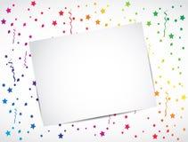 Cartão em branco, conceito multicolor do confetti Imagens de Stock