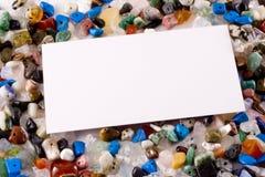 Cartão em pedras semipreciosas Fotografia de Stock Royalty Free