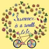 Cartão em um tema do verão com a bicicleta ilustração royalty free