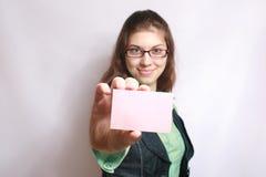 Cartão em uma mão. Fotografia de Stock