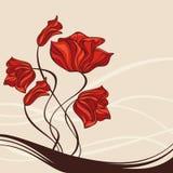 Cartão encantador com flores ilustração stock