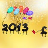 Cartão engraçado de 2013 vésperas de Ano Novo. + EPS8 Imagem de Stock Royalty Free
