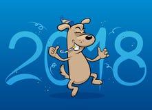 Cartão engraçado do ano novo do cão Imagens de Stock