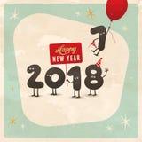 Cartão engraçado do estilo do vintage - ano novo feliz 2018 Fotografia de Stock
