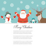Cartão engraçado do Feliz Natal Caráteres do Natal Vetor Fotografia de Stock